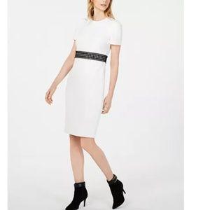 NWT Calvin Klein Lace Stretchy White Midi Dress